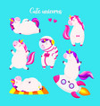 set of funny cartoon magic unicorns patch badge vector image vector image