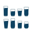 set of glossy water glass vector image