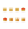 Set of gold crown flat icons vector image