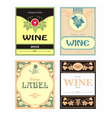 set of wine label vector image vector image
