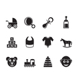 Silhouette baby and children icons vector image vector image