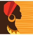 Silhouette of african girl in profile with vector image vector image