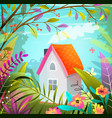 small house in forest woods and lush nature escape vector image