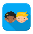 Smiling boy and girl faces app icon with long vector image vector image