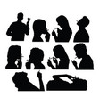 smoker silhouettes vector image vector image