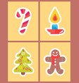 sweet candy stick burning candle new year tree vector image