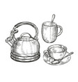 tea concept sketch kitchen utensils vintage vector image