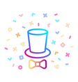 top hat and tie bow line icon cylinder and bow vector image