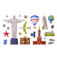 travel time with city landmark and tourism vector image vector image