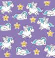 Unicorn with wings star kawaii seamless pattern