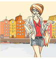 Urban scene with girl vector image vector image