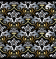 vintage gold silver 3d baroque seamless pattern vector image vector image
