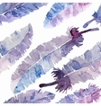 Watercolor feathers seamless pattern vector image vector image