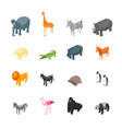 wild animals 3d icons set isometric view vector image