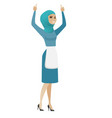 young muslim cleaner standing with raised arms up vector image vector image