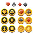 set of gold icons and coins of vector image