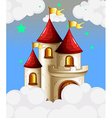 A castle in the sky with yellow banners vector image