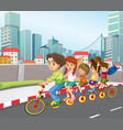a family riding bicycle in city vector image