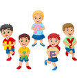 cartoon kids holding letter with word happy vector image