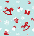 christmas and new year seamless pattern with red vector image vector image