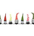 christmas gnomes seamless border hand vector image vector image