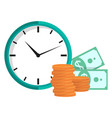 clock with coins and dollars time is money vector image vector image