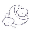 cloud and moon cartoon in black and white vector image