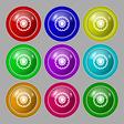 cogwheel icon sign symbol on nine round colourful vector image