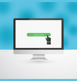 computer monitor with green login button and hand vector image vector image