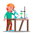 curious child using a microscope in school vector image
