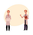 doctors in medical coats holding blank sign vector image vector image