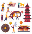 flat chinese new year set vector image