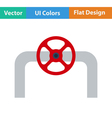 Flat design icon of Pipe with valve vector image vector image
