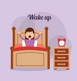 girl in his bed with clock bedside table wake up vector image vector image