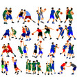 group basketball players in duel sport position vector image vector image