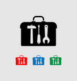 icon set with tools hammer screwdriver wrench vector image vector image