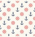 marine pattern ship helm and anchor navy seamless vector image vector image