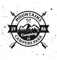 mountains camping park monochrome emblem vector image vector image