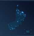 oman map with cities luminous dots - neon lights vector image