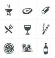 party and grill icon set vector image