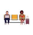 people in airport arrival waiting room departure vector image