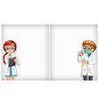 plain background with two doctors in lab vector image vector image
