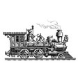 retro steam locomotive train vintage sketch vector image