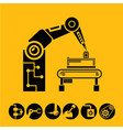 robotic arm in manufacturing process vector image vector image