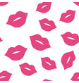 seamless pattern with pink kisses on white vector image