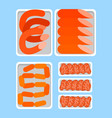 seller counter full of butchery food products meat vector image