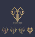set logo church logo cross with heart vector image