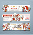 set of horizontal christmas banners with cute vector image vector image