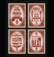 set postage stamps with citations on vector image