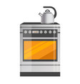 shiny metallic kettle on brand-new kitchen stove vector image vector image